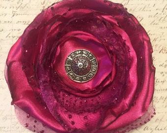 Hot Pink Flower Hair Clip