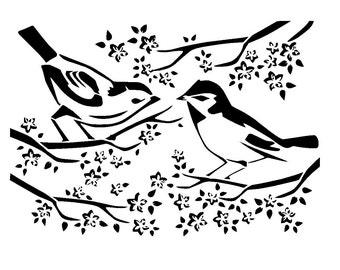 """8.3/11.7"""" birds on blossom tree stencil.  a4."""