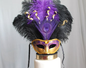 Mardi Gras, Masquerade, Venetian, Mask Purple and Gold Cake Topper, Costume, OverTheTopCakeTopper