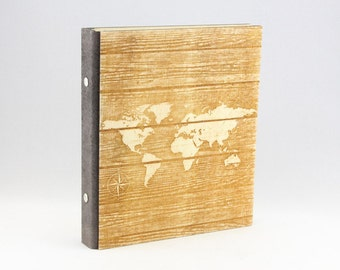 World Map Ring Binder, A5, A4 Travel Fan Gift, Wooden Ring Binder, Laser Engraved Travel Notebook, Craft Scrapbook, Travel Organizer