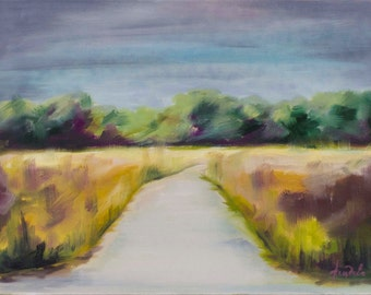 Road to the river, Original landscape, oil on canvas, fields, oil painting on canvas, Hand oil painting