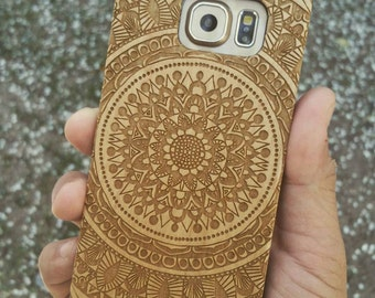 Laser Engraved Doodle Zentangle Inspired Mandala with Aztec Theme on  Genuine Wood Cell phone Case for Samsung Galaxy 056 S-056