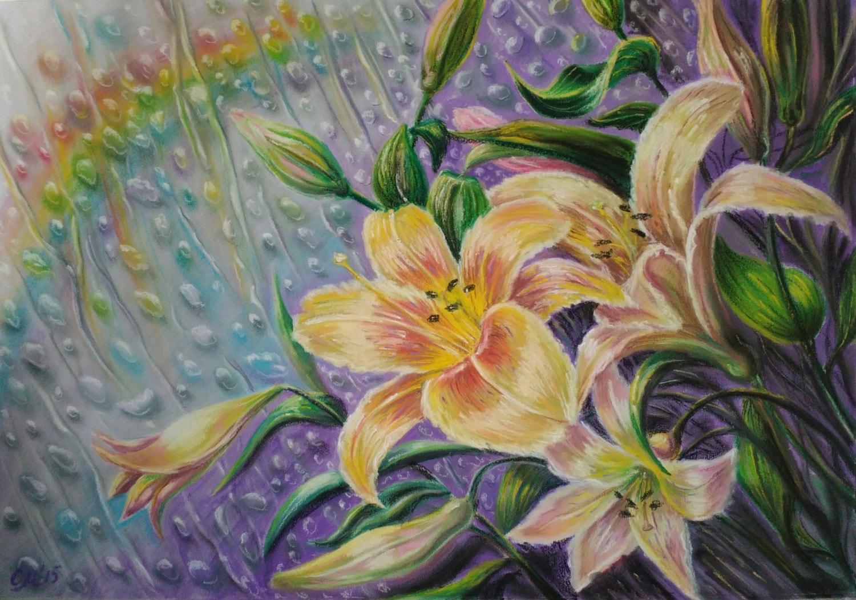Rainbow landscape original oil pastel drawing - Fall Decor For Girls Room Decor Pacification Art Floral Art Original Pastel Painting Yellow Flower Girl