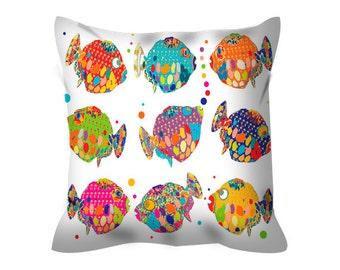 home decor,fish pillow,accent pillow,fish cushion cover,colourful pillow,beach house decor,fun pillow,fun cushion cover,beach pillow,gift