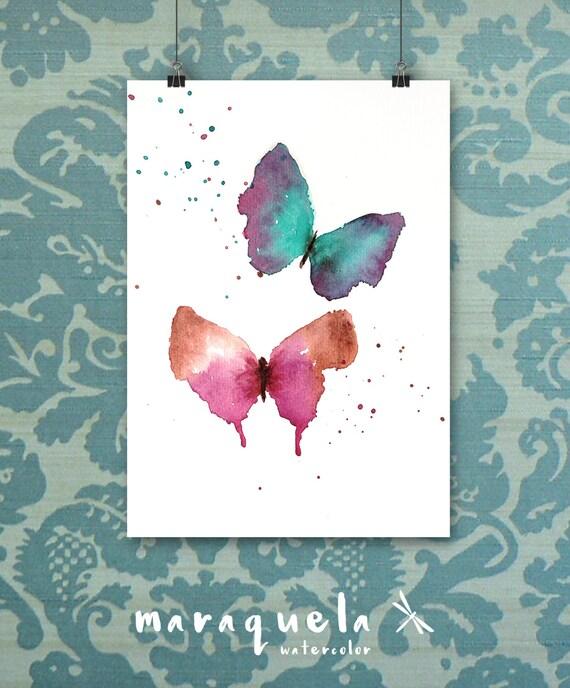 Original Couple of Butterflies Watercolor - Artprint, Artdeco, handmade, watercolor, painting, butterfly, homedecor, artwork, prints, poster