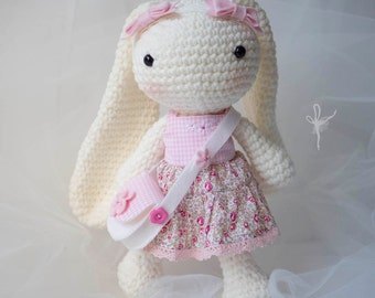 Amigurumi Long Eared Rabbit Crochet Bunny Baby Shower Gift Doll with Liberty Lawn clothes
