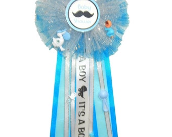 Little Man Mustache Baby Shower. Honor Ribbon Corsage Party Supplies