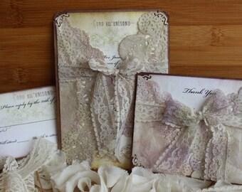 "Shabby Chic Wedding Invitation with Doily & Lace, Antique Invitation ""Elinor"""