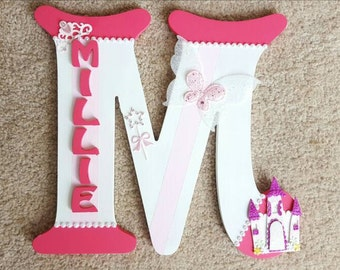 Handmade Princess Butterflies Themed 3D Character Personalised Wall / Door Plaque Custom Made