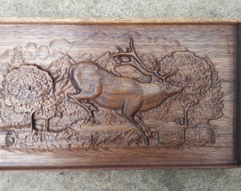American Black Walnut Wooden 3D Engraving Relief Scared Running Deer Stag Art Picture Farming Wall Art Framed