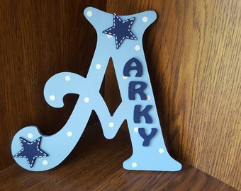 Handmade Personalised Boys Blue Stars Door Sign Plaque Letter