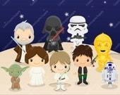 Star Wars inspired clipart, Star wars clip art, starwars clipart, superhero clipart, superhero clip art, INSTANT DOWNLOAD, -LN076-