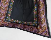 Silky boho shawl / scarf / wrap, Bellino, Italian, extra large - black