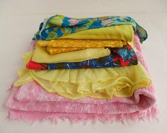 Mid century textiles bargain bundle, retro, mod, fabric, scrap pack - please read full description