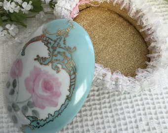 Vintage porcelain jewel box, cottage chic jewelry box, trinket  box, Porcelain jewel box, mint jewel box, cottage trinket box, gift box
