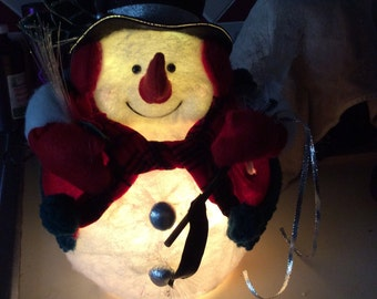 Mr Snowman Fiber Optic Decoration in box