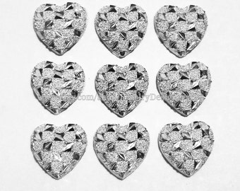 10pcs 12mm Heart Shape Cabochon Kawaii Cabochons Dusted Silver Geometric Flat Back Cabs Resin Deco Jewelry Supplies
