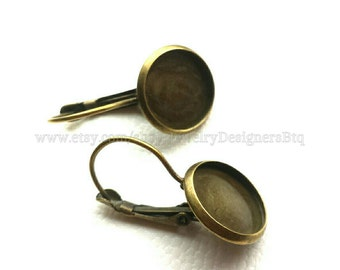 20pcs Antique Bronze Bezels Cabochon Setting French Leverback Earring Lever backs 12mm Cabochons Bezel Earring Blanks Earring Findings