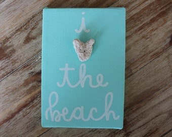 I Love The Beach Seashell Canvas Quote Art