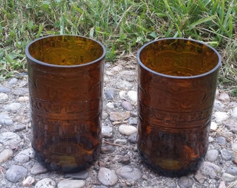 Set of 2 upcycled IBC Root Beer glasses