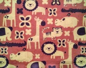 100% Cotton flannel Fabric Zoo animals on pink Flannel Fabric - by the yard