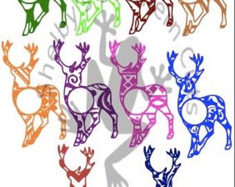Pattern Deer Monogram SVG files