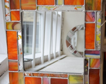 Stained Glass Copperfoiled Square Mirror