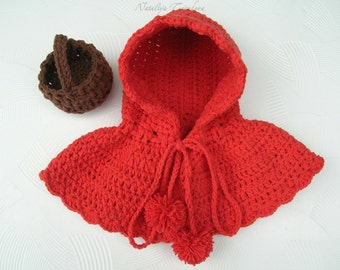 Crochet Little Red Riding Hood and Basket/Halloween/ Little Red Riding Hood Cape/Halloween Costume For Newborn /Baby Photography Prop