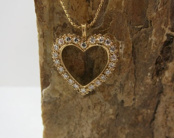 heart diamond pendant with chain