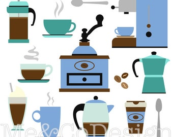 Coffee Clipart, Cafe Clipart, Retro Kitchen Instant Download, Personal and Commercial Use Clipart, Digital Clip Art