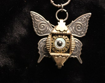 Small Brass Steampunk Butterfly Pendant