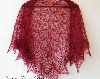 Mohair Shawl. Hand Knit Lace Shawl. Free Shipping. Knit triangular shawl. Made To Order. Knitted Shawl