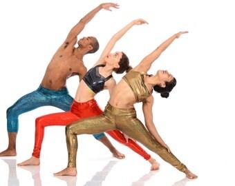 Golden Shimmer/Lagoon Sparkle/Carmine Sparkle Yoga Legging