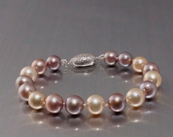 Hand Knotted Fresh Water Pearl Bracelet with Pave Cubic Zircon Silver Clasp, #B404