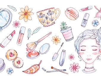 Korean Beauty & Makeup Sticker Sheet - Cute Stickers, Watercolor Illustration - Autumn, K-Beauty and Desserts for Decoration