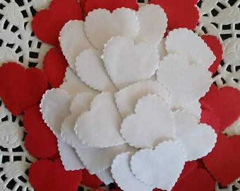 1200+ Wedding throwing confetti scalloped heart shaped !Red  & white medium size. Table Decoration
