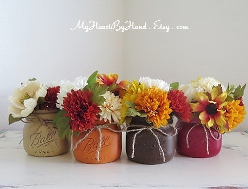 Fall mason jars centerpieces autumn home decor