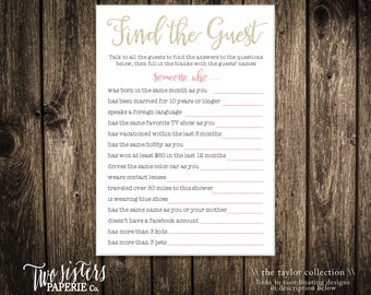 Bridal Shower Find The Guest Game - Printable File