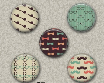 "Hipster 5 Button Set 1.25"" Pinback Button, Flatback or Fridge Magnet, Badge, Pin, Glasses, Bowtie, Heart, Mustache, Pipe, Keychain, Mirror"