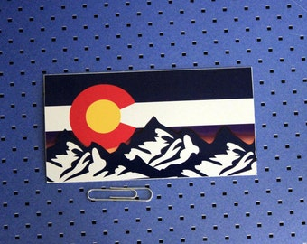 Colorado Flag Mountains Sunset Bumper Sticker
