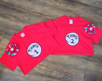 Matching Dr. Seuss Thing 1 and Thing 2 Shirts