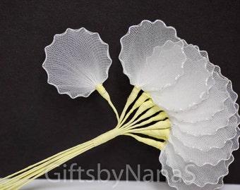 Silver edge 10pc almond holders tulle net leaves silver wire scalloped edges wedding favors or jordan almond flowers italian bonboniere