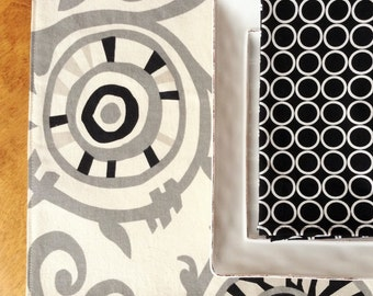 Modern Placemats, Neutral Placemats, Suzani Placemats, Black and Gray Placemats