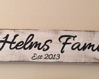 Custom family name sign with year