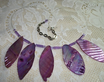 Necklace, Abalone, Light Purple with Swarovrski  Crystals