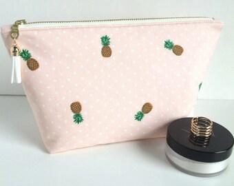 Pineapple Cosmetic Bag, Large Makeup Bag, Large Cosmetic Bag, Large Zipper Pouch, Pineapple Makeup Bag