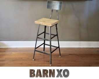 Reclaimed Wood Stool with Backrest | Made From Salvaged Barn Wood and Industrial Steel - FAST SHIPPING!!!