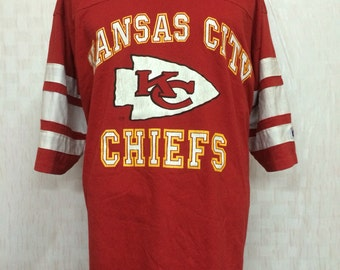 Vintage Kansas City Chiefs Football Team Tshirt Jersey Style Logo 7 Polyester Cotton 50/50