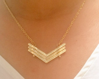 Chevron Necklace, Triple V Necklace, Simple