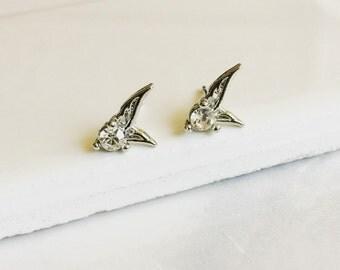 Tiny Angel Wings Earrings, Crystal Earrings, Minimalist, Simple
